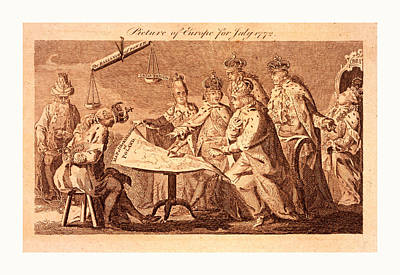 Picture Of Europe For July 1772, Catherine II, Leopold II Art Print