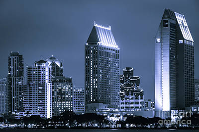 Picture Of San Diego Night Skyline Art Print by Paul Velgos