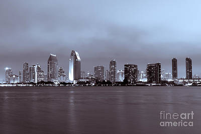 Picture Of San Diego Skyline At Night Art Print by Paul Velgos