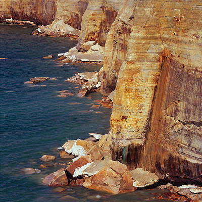 Photograph - Pictured Rocks Cliffs Sq by Tom Daniel