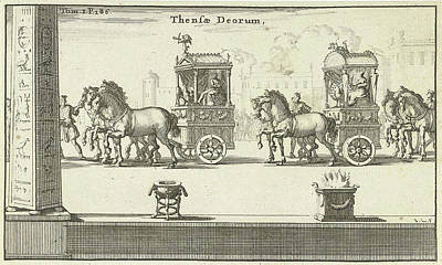 Hera Drawing - Pictures Of Juno And Jupiter In Carts Driven by Jan Luyken And Fran?ois Halma