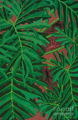 Painting - pictures of philodendrons - Lizard Leaves by Sharon Hudson