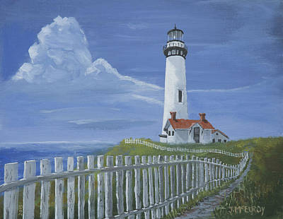 Point Guard Painting - Pigeon Point Lighthouse by Jerry McElroy
