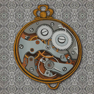 Clocks Drawing - Pieces Of Time by Meg Shearer