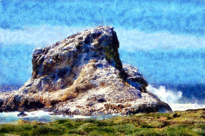 Digital Art - Piedras Blancas Rock by Kaylee Mason