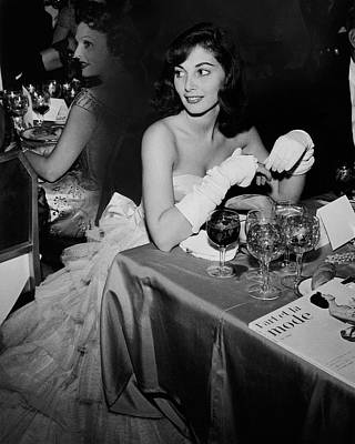 Table Wine Photograph - Pier Agnelli Wearing An Evening Gown At A Ball by Nick De Morgoli