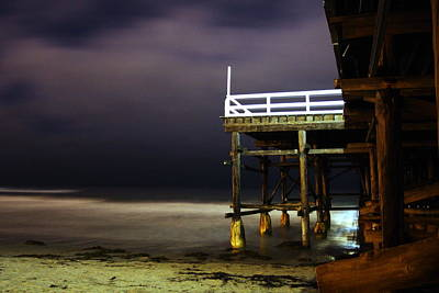 Pier At Night - 2 Art Print by Carrie Warlaumont