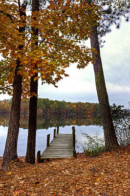 Photograph - Pier At Reservoir by Jerry Gammon