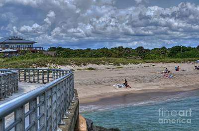 Pier At Sebastian Inlet Art Print by Timothy Lowry