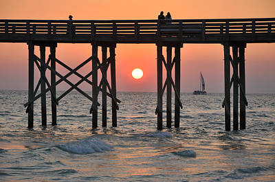 Pier At Sunset Art Print by April Moran
