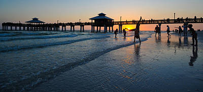 Pier At Sunset, Fort Myers Beach Art Print by Panoramic Images