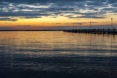 Pier At Sunset Seaside Nj  Art Print by Terry DeLuco