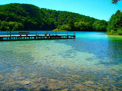 Pier At The Plitvice Lakes Art Print