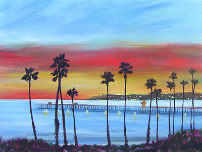 San Clemente Painting - Pier At Twilight by Sally Huss