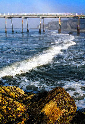 Rincon Beach California Photograph - Pier Breakers by Ron Regalado