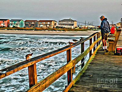 Photograph - Pier Fishing 2 by Scott Hervieux
