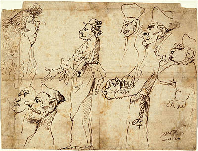 Caricature Drawing - Pier Francesco Mola, Caricatures, Italian by Litz Collection