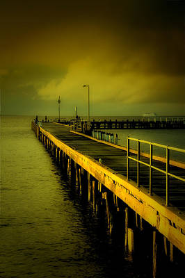 Digital Art - Pier Glow by John Monteath
