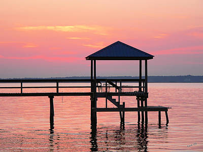 Photograph - Pier In Pink Sunset by Kathy K McClellan