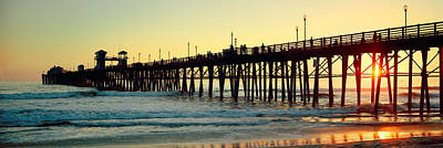 Pier In The Ocean At Sunset, Oceanside Art Print by Panoramic Images
