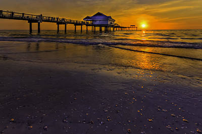 Pier Into The Sun Art Print