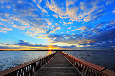 Pier Into The Sunset Art Print