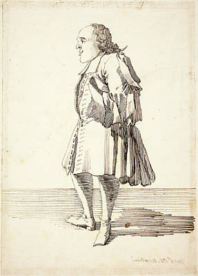 Caricature Drawing - Pier Leone Ghezzi, Italian 1674-1755, Caricature Of A Male by Litz Collection