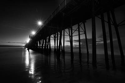 Pier Lights - Black And White Art Print by Peter Tellone