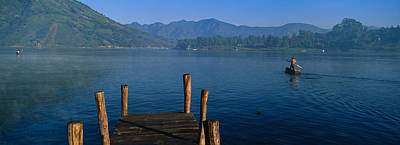 Pier On A Lake, Santiago, Lake Atitlan Art Print