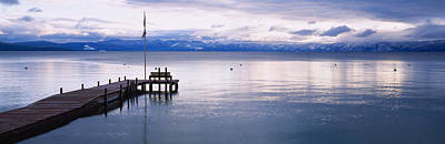 Flagpole Photograph - Pier On The Water, Lake Tahoe by Panoramic Images