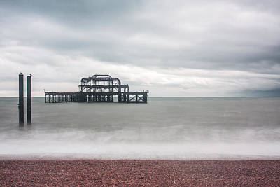 Photograph - Pier Remains In Brighton by Semmick Photo