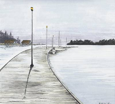 Drawing - Pier Solitude by Dan Haley