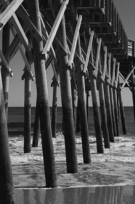 Photograph - Pier Structure In Black And White by MM Anderson