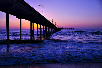 Pier Sunset Ocean Beach Art Print by Garry Gay