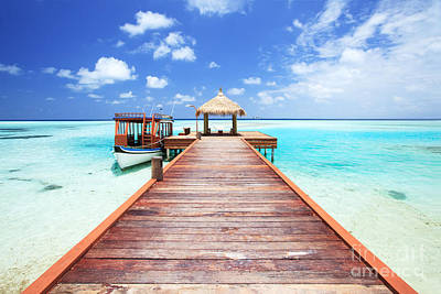 Pier To Tropical Sea In The Maldives - Indian Ocean Art Print