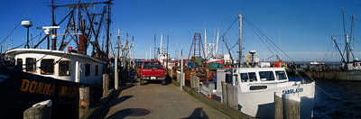 Pier With A Truck And Boats Art Print