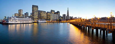 Bay Bridge Photograph - Pier With City At Sunset, Bay Bridge by Panoramic Images