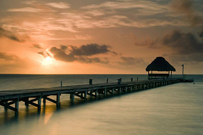 Pier With Palapa At Sunrise, Ambergris Art Print by Panoramic Images