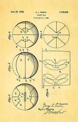 Basket Ball Game Photograph - Pierce Basketball Patent Art 1929 by Ian Monk