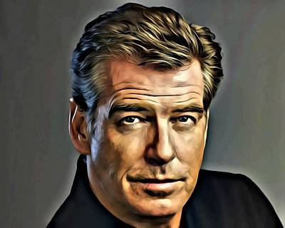 Painting - Pierce Brosnan Portrait by Florian Rodarte