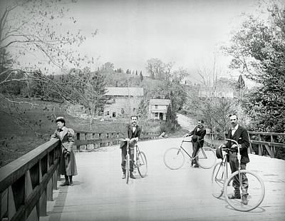 Ladies Bike Photograph - Pierce Mill Bicyclists 1890 by Daniel Hagerman