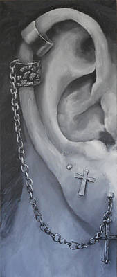 Chain-ring Painting - Pierced Ear by David Dempsey