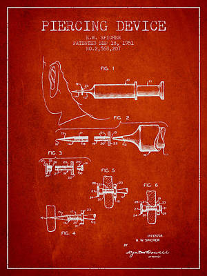 Piercing Device Patent From 1951 - Red Art Print
