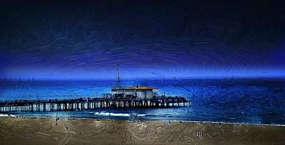 Santa Monica Digital Art - Piering Into The Night by Cary Shapiro