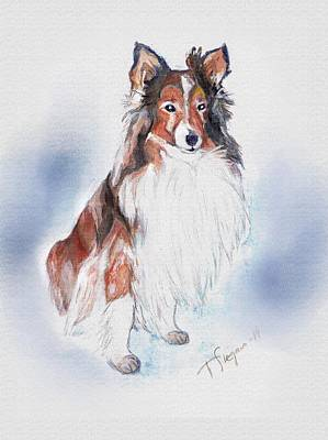 Wall Art - Painting - Piero The Doggie In Heaven by Tarja Stegars