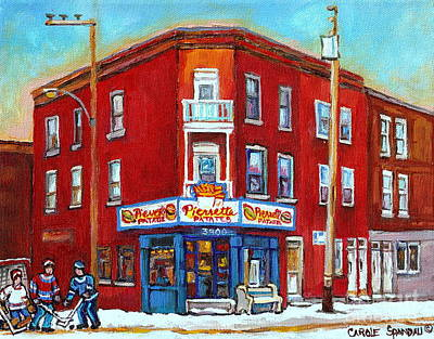 Street Hockey Painting - Pierrette Patates Restaurant - Paintings Of Verdun - Verdun Winter Scenes -verdun Hockey Scenes by Carole Spandau