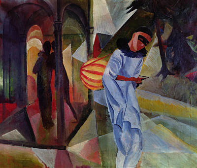 Lute Photograph - Pierrot, 1913 Oil On Canvas by August Macke