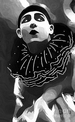 Pierrot Clown Vintage Art IIi Textured Bw Print by Lesa Fine