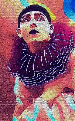 Pierrot Clown Vintage Art IIi Textured Print by Lesa Fine