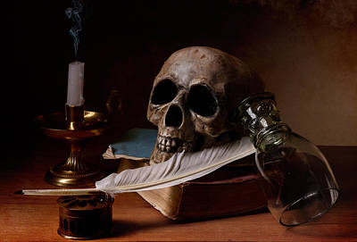 Vanitas With Snuffed Candle And Writing Utensils Art Print
